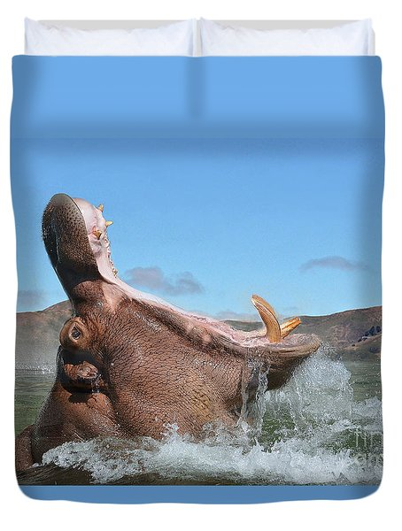 Hippopotamus Bursting Out Of The Water Duvet Cover