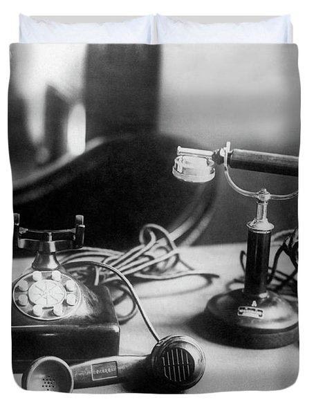 Hirohito's First Telephone Duvet Cover