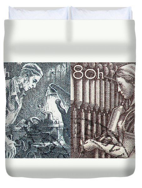 His And Hers Blue Collar Vintage Postage Stamp Details Duvet Cover by Andy Prendy