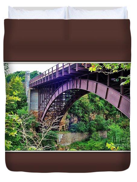 Historic Ausable Chasm Bridge Duvet Cover by Patti Whitten