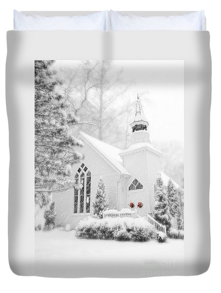 Duvet Cover featuring the photograph White Christmas In Oella Maryland Usa by Vizual Studio