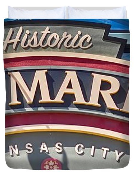 Historic City Market Sign  Duvet Cover