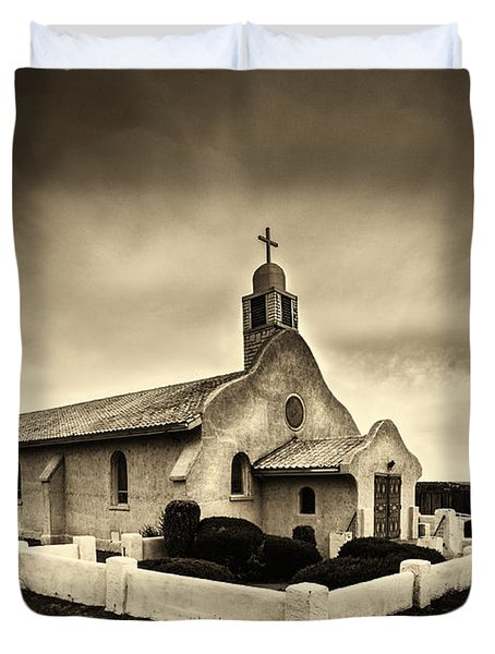 Historic Old Adobe Spanish Style Catholic Church San Ysidro New Mexico Duvet Cover by Jerry Cowart