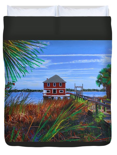 Historic Ormond Boathouse Duvet Cover