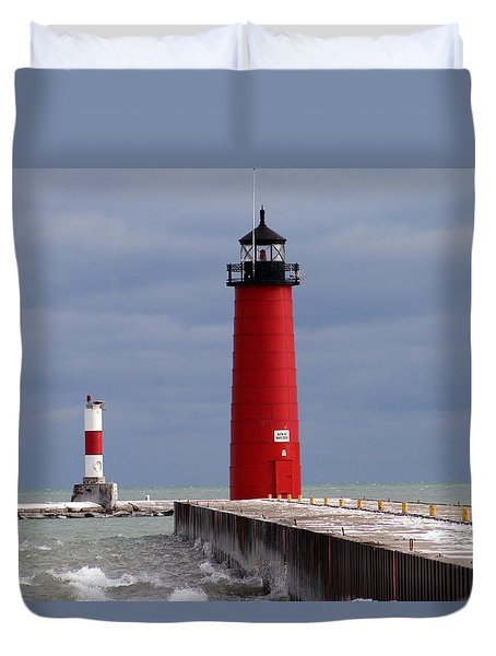 Duvet Cover featuring the photograph Historic Pierhead Lighthouse by Kay Novy