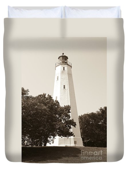 Historic Sandy Hook Lighthouse Duvet Cover by Anthony Sacco