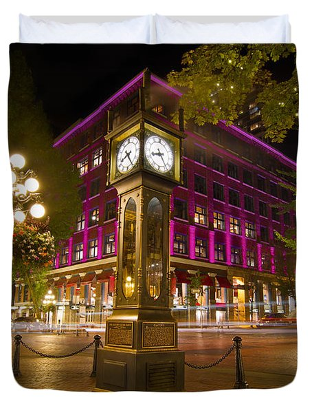 Historic Steam Clock In Gastown Vancouver Bc Duvet Cover