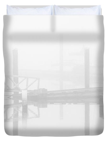 Historic Stewart Farm In The Fog Duvet Cover