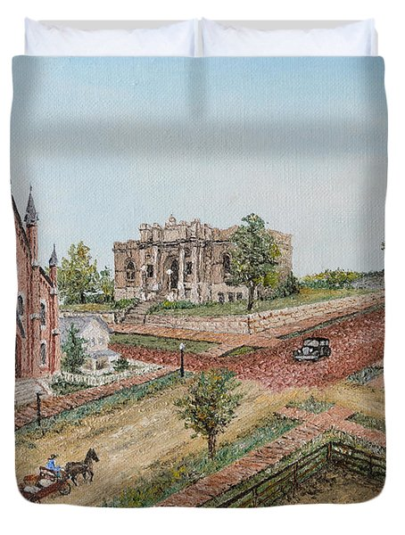 Duvet Cover featuring the painting Historic Street - Lawrence Ks by Mary Ellen Anderson