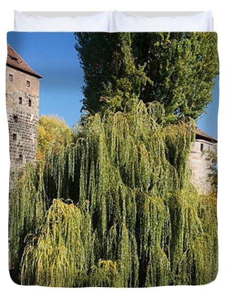 historic winestorage and executioner bridge in Nuremberg Duvet Cover by Rudi Prott