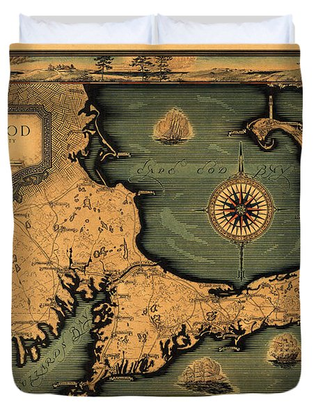 Historical Map Of Cape Cod Duvet Cover