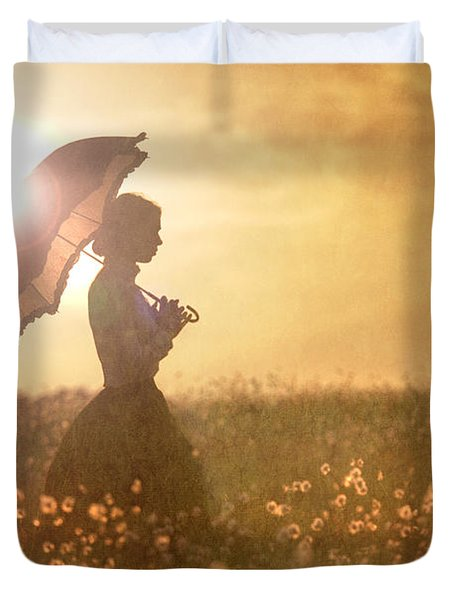 Historical Woman With Parasol In A Meadow At Sunset Duvet Cover by Lee Avison
