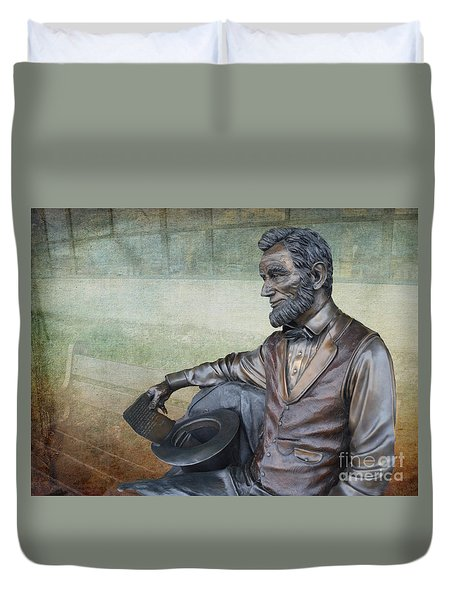 History - Abraham Lincoln Contemplates -  Luther Fine Art Duvet Cover by Luther Fine Art