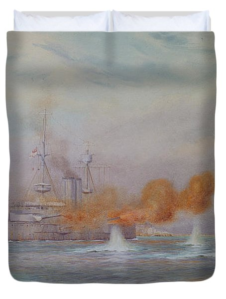 H.m.s. Albion Commanded By Capt. A. Walker-heneage Completing The Destruction Of The Outer Forts Duvet Cover