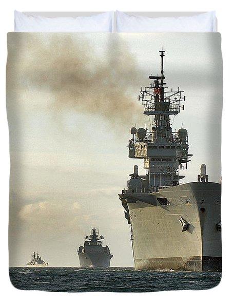 Hms Ark Royal  Duvet Cover by Paul Fearn