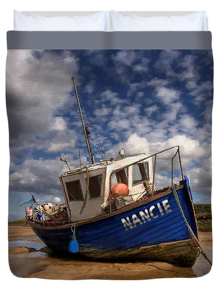 Duvet Cover featuring the painting H.m.s. Nancie by Jann Paxton