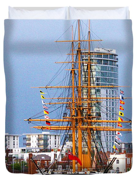 Hms Warrior Portsmouth Duvet Cover by Terri Waters