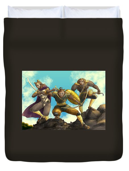 Duvet Cover featuring the painting Hoargg Warriors by Reynold Jay