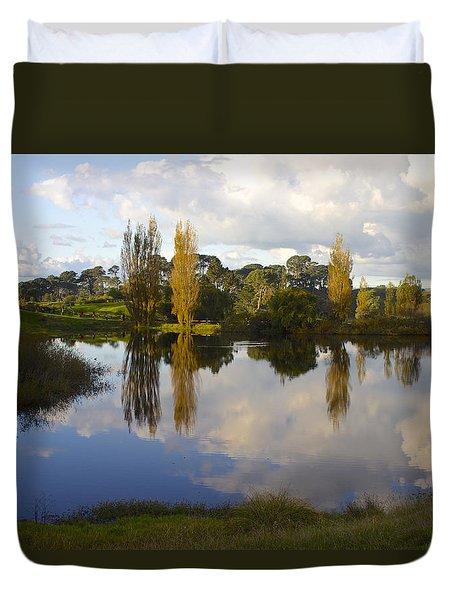 Autumn At Hobbiton Lake New Zealand Duvet Cover by Venetia Featherstone-Witty