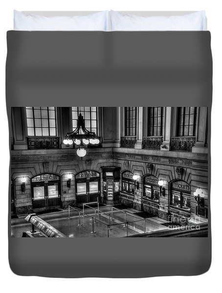 Hoboken Terminal Waiting Room Duvet Cover by Anthony Sacco