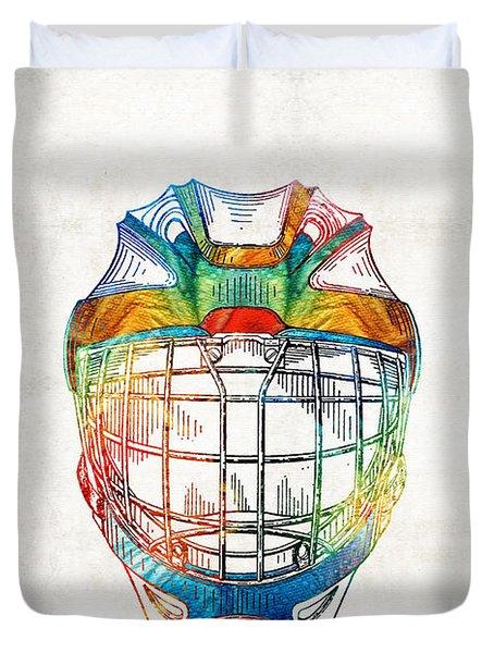 Hockey Art - Goalie Mask Patent - Sharon Cummings Duvet Cover by Sharon Cummings