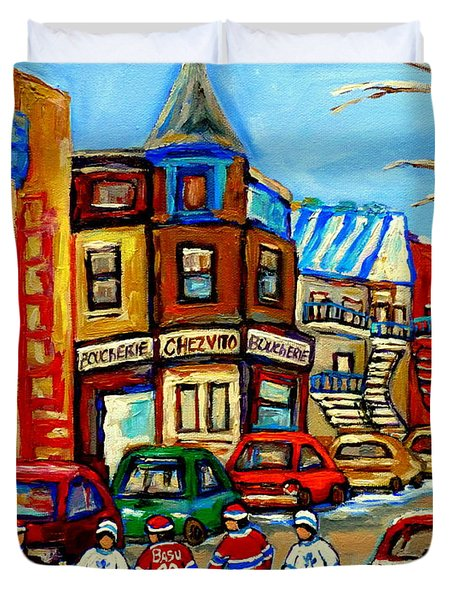 Hockey Art Montreal Winter Street Scene Painting Chez Vito Boucherie And Fairmount Bagel Duvet Cover by Carole Spandau