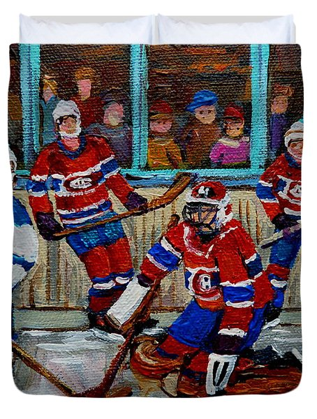 Hockey Art Vintage Game Montreal Forum Duvet Cover by Carole Spandau