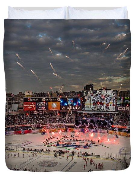 Hockey At Yankee Stadium Duvet Cover