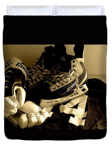 Hockey Black And White Duvet Cover