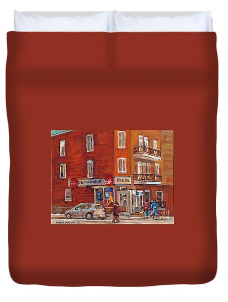 Hockey Game At Corner Store-montreal Depanneur-city Scene Painting-carole Spandau Duvet Cover by Carole Spandau