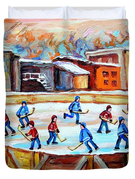 Hockey In The City Outdoor Hockey Rink Montreal Memories Winter City Scenes Painting Carole Spandau  Duvet Cover by Carole Spandau