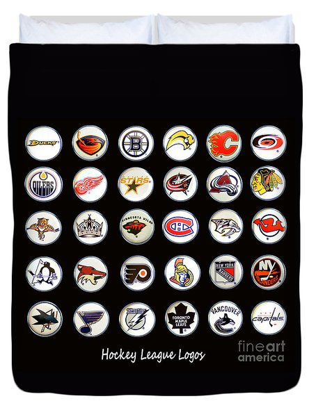Hockey League Logos Bottle Caps Duvet Cover