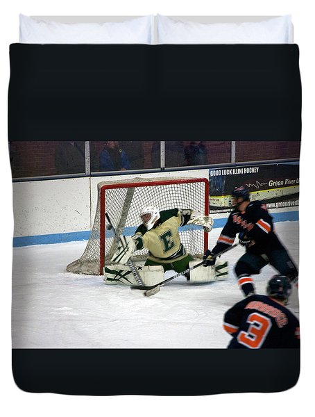 Hockey Off The Handle Duvet Cover by Thomas Woolworth