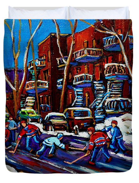 Hockey On De Bullion Montreal Duvet Cover by Carole Spandau