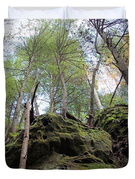 Hocking Hills Moss Covered Cliff Duvet Cover by Karen Adams