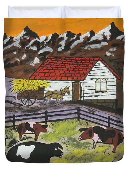 Hog Heaven Farm Duvet Cover