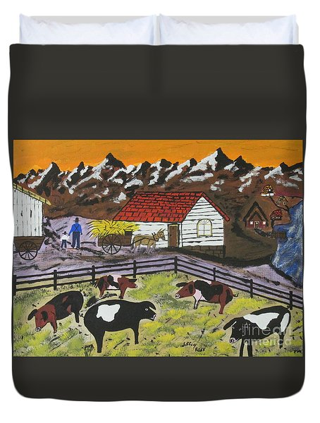 Duvet Cover featuring the painting Hog Heaven Farm by Jeffrey Koss