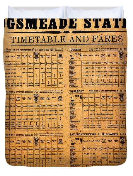 Hogsmeade Station Timetable Duvet Cover