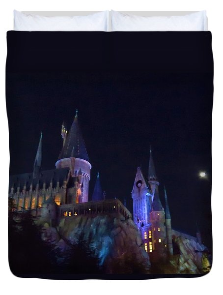 Hogwarts Castle At Night Duvet Cover by Kathy Long