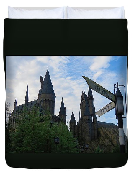 Hogwarts Castle With Signs Duvet Cover