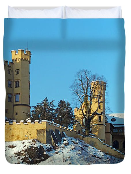 Hohenschwangau Castle Panorama In Winter Duvet Cover by Rudi Prott