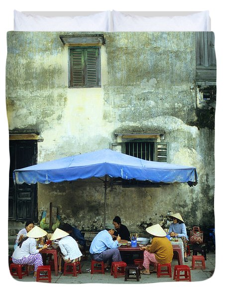Hoi An Noodle Stall 02 Duvet Cover by Rick Piper Photography