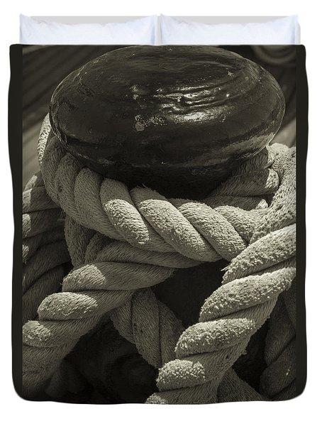 Hold On Black And White Sepia Duvet Cover