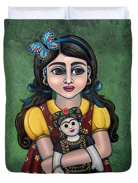 Holding Frida With Butterfly Duvet Cover by Victoria De Almeida