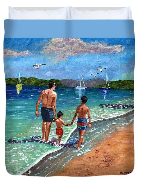 Holding Hands Duvet Cover by Laura Forde