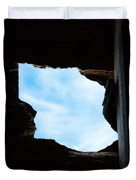 Duvet Cover featuring the photograph Hole In The Roof  by Gary Heller