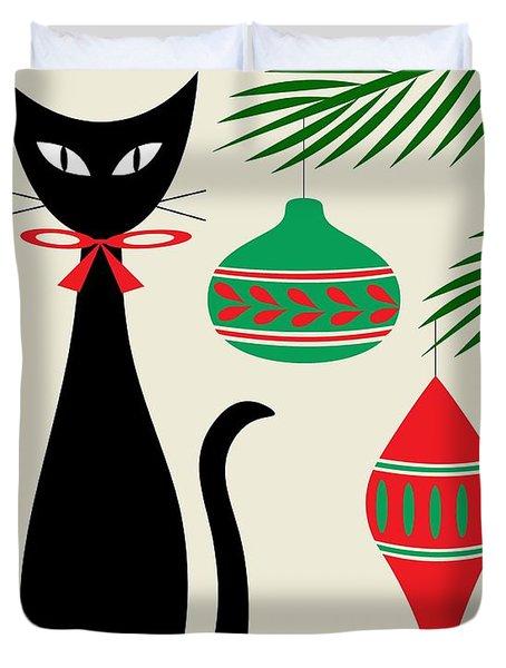 Holiday Cat On Cream Duvet Cover