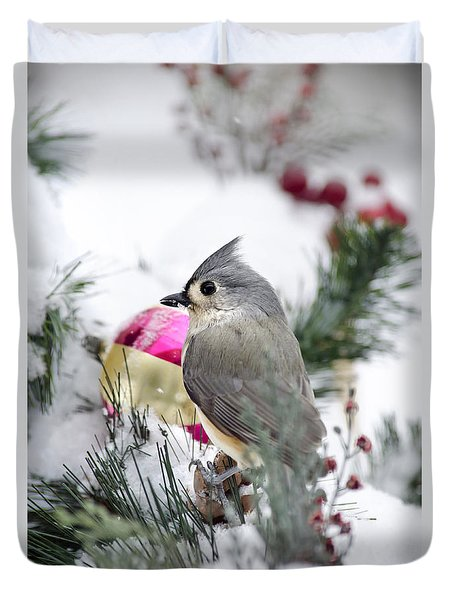 Holiday Cheer With A Titmouse Duvet Cover by Christina Rollo