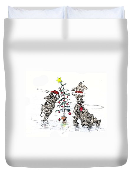 Holiday Ice Duvet Cover by Donna Tucker