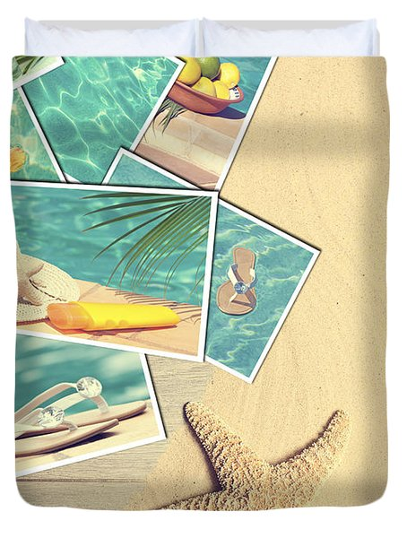 Holiday Postcards Duvet Cover by Amanda Elwell
